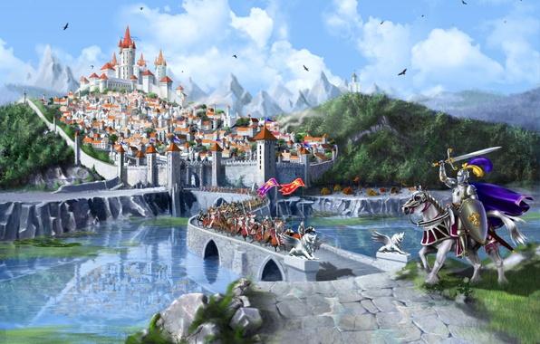 Картинка лес, горы, мост, city, город, озеро, замок, кони, fantasy, средневековье, рыцари, bridge, wood, mountains, lake, …