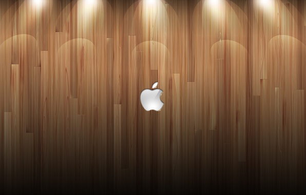 Картинка стена, дерево, Apple, mac, logo