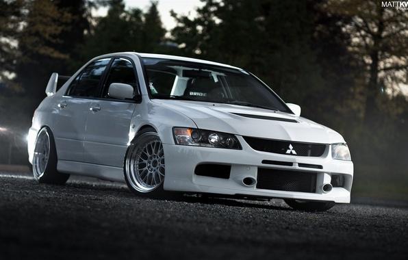 Картинка машина, авто, белая, Mitsubishi, Evo IX