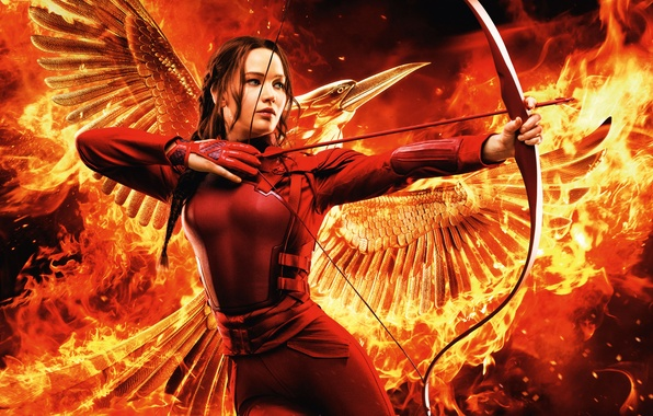 Картинка Girl, Red, Fire, Beautiful, Flame, Warrior, Wallpaper, War, Smoke, Bird, Jennifer Lawrence, Weapons, Walt Disney …