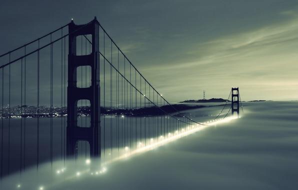 Картинка небо, облака, мост, city, город, lights, огни, туман, река, Golden Gate Bridge, river, sky, clouds, …