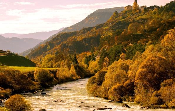 Картинка осень, деревья, горы, река, Альпы, Италия, берега, Валь-ди-Фьемме