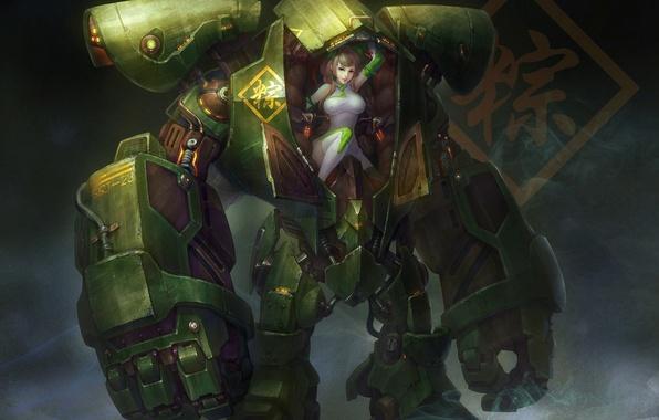 Картинка машина, девушка, металл, робот, арт, меха