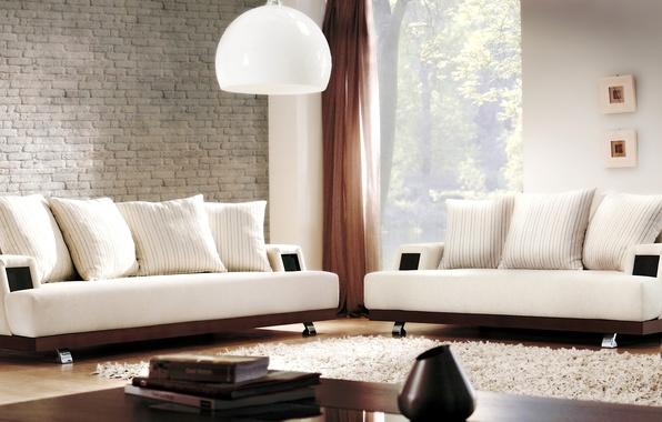 Картинка дизайн, лампы, ковер, интерьер, подушки, белые, диваны, гостиная, столики