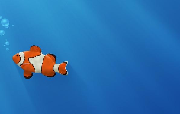 Картинка синий, пузыри, золотая рыбка