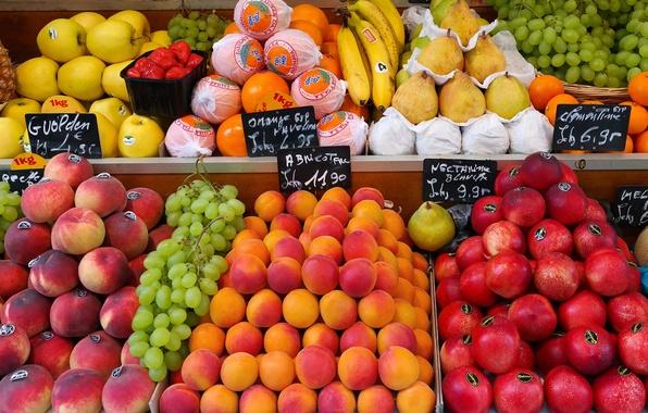 Картинка круглый, яблоки, еда, апельсины, клубника, виноград, бананы, фрукты, персики, груши, год, это, базарчик, свежие, витрины, …