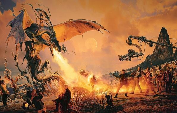 Картинка огонь, фильм, дракон