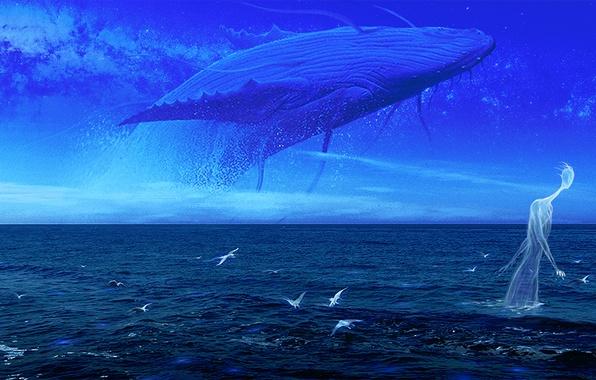 Картинка море, небо, вода, облака, птицы, фантастика, арт, кит