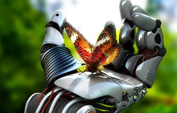 Картинка бабочка, механизм, робот, рука