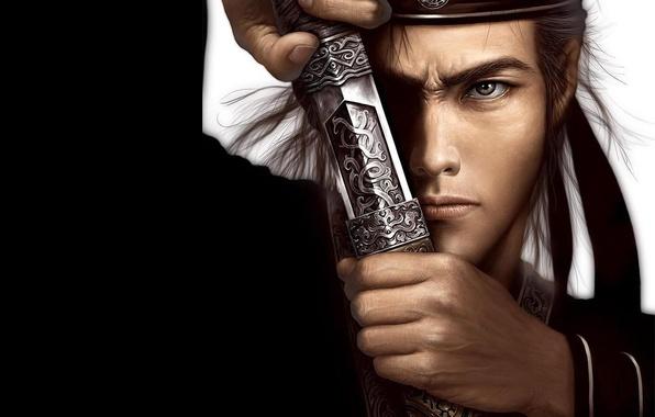 Картинка взгляд, меч, воин, самурай, мужчина, клинок