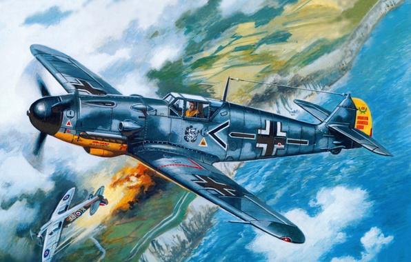 Картинка небо, вода, земля, берег, рисунок, истребитель, бой, арт, воздушный, английский, самолёты, поршневой, одномоторный, WW2, Супермарин …