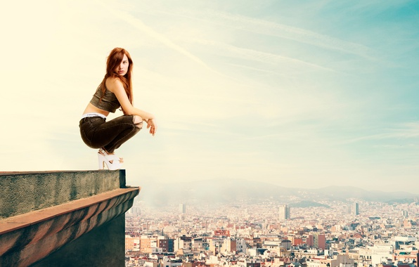 Картинка крыша, девушка, город, высота