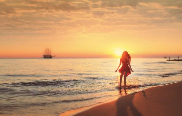 Картинка Солнце, Песок, Море, Пляж, Девушка, Платье