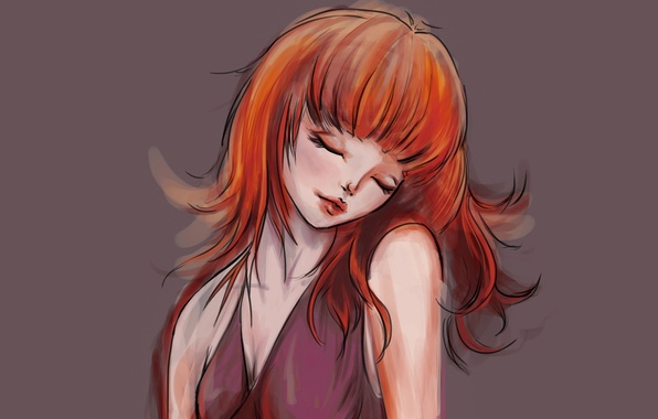 Картинка девушка, лицо, фон, волосы, руки, платье, арт, рыжая, живопись, плечи, закрытые глаза