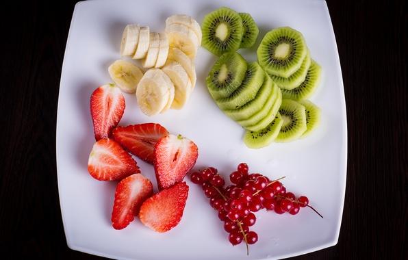 Картинка ягоды, киви, клубника, тарелка, фрукты, банан, fresh, десерт, смородина, fruits, berries, фруктовый салат