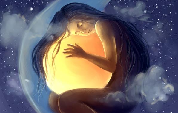 Картинка девушка, звезды, облака, шар, сон, арт, сфера