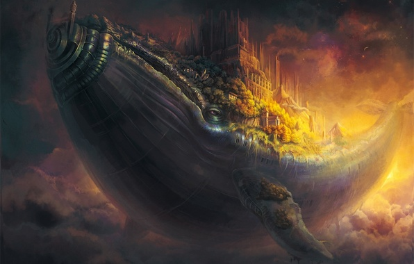 Картинка облака, полет, город, здания, рыба, арт, кит, в небе