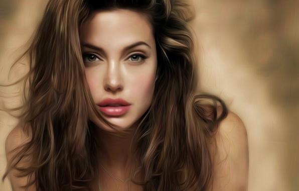 Картинка девушка, лицо, волосы, актриса, Анджелина Джоли, Angelina Jolie, арт