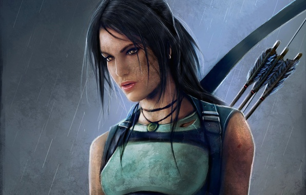 Картинка девушка, дождь, лук, грязь, арт, стрелы, lara croft, tomb raider, reborn