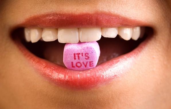 Картинка макро, любовь, губы, сладости, это, it's love, zoom, увеличение