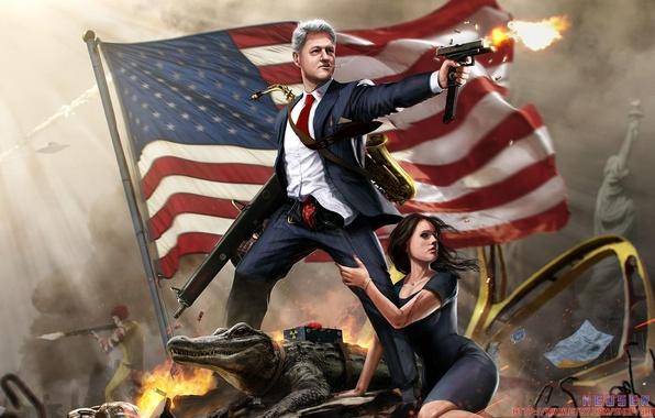 Картинка Girl, Gun, McDonalds, Flag, Ronald, Clinton, Alligator, President