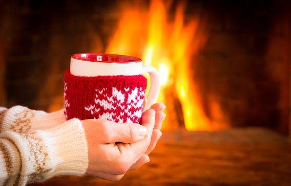 Картинка зима, кофе, горячий, чашка, fire, камин, winter, cup, coffee, cute, варежка