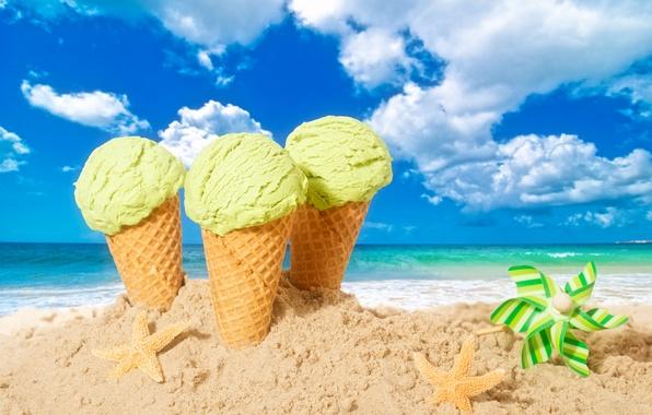 Картинка песок, пляж, лето, мороженое, summer, beach, рожок, sea, sand, dessert, ice cream