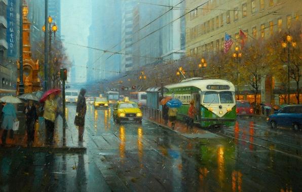Картинка дорога, город, огни, люди, дождь, улица, провода, картина, арт, светофор, фонари, зонтики, трамвай, такси, флаги, ...