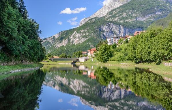 Картинка лес, горы, мост, озеро, отражение, Италия, Italy, Доломитовые Альпы, Dolomites, Trentino, Тренто, Lake Molveno, озеро ...