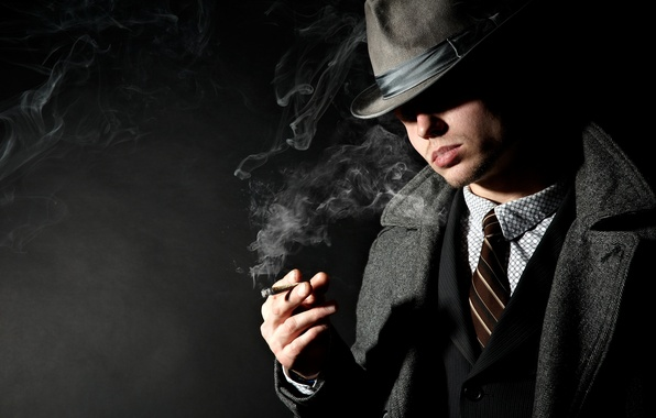 Картинка дым, тень, шляпа, сигарета, костюм, мужчина, пиджак, пальто