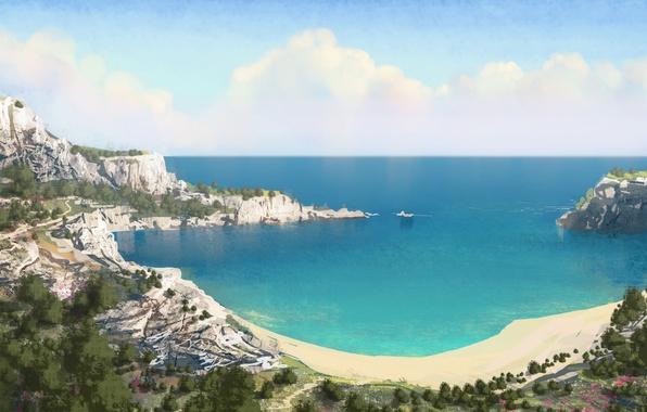 Картинка море, небо, пейзаж, цветы, холмы, берег, арт, Италия