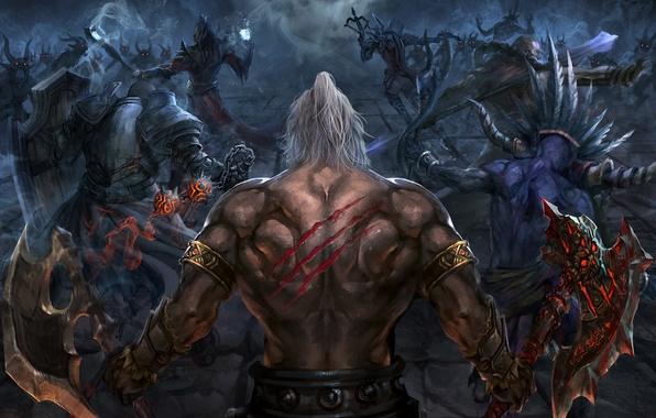 Картинка Blizzard, Art, Diablo 3, Background, Blizzard Entertainment, Minions, Fan Art, Demon Hunter, Witch Doctor, Battle, …