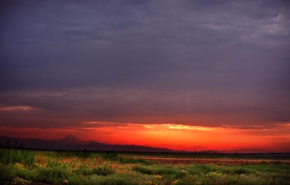 Картинка небо, облака, горы, восход солнца, Иран, Iran