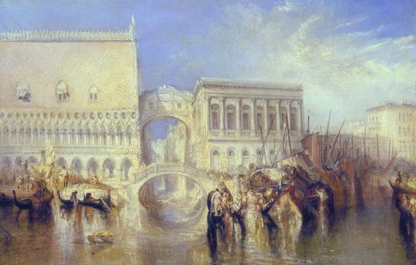 Картинка город, лодка, дома, картина, Италия, Венеция, канал, городской пейзаж, Уильям Тёрнер, Мост Вздохов