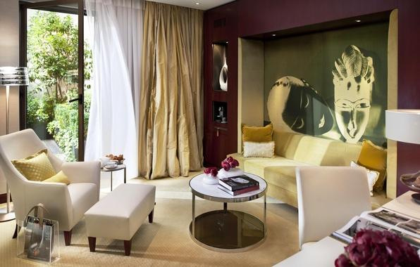Картинка белый, цветы, дизайн, стиль, комната, диван, книги, интерьер, картина, подушки, кресла, штора, бежевый, гостиная, столики