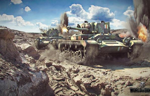 Картинка камни, танк, танки, выстрелы, world of tanks, valentine, wot, валентайн, матильда, matilda