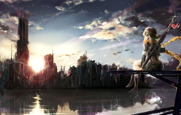 Картинка цветок, небо, девушка, облака, закат, город, оружие, дома, радуга, аниме, шарф, арт, руины, shakugan, natural …