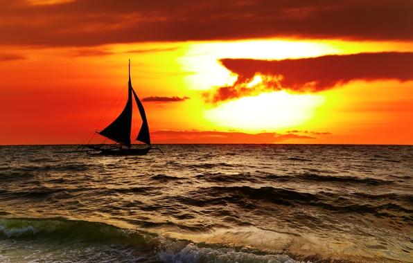 Картинка море, небо, облака, пейзаж, природа, парусник, красивая, sky, sea, landscape, nature, beautiful, clouds, Филиппины, Tropical, …