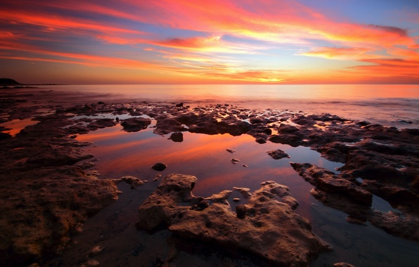 Картинка море, пляж, камни, вечер, заря