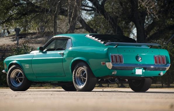 Картинка деревья, Mustang, Ford, Форд, Мустанг, мускул кар, классика, вид сзади, 1970, Boss, Muscle car, 429, …