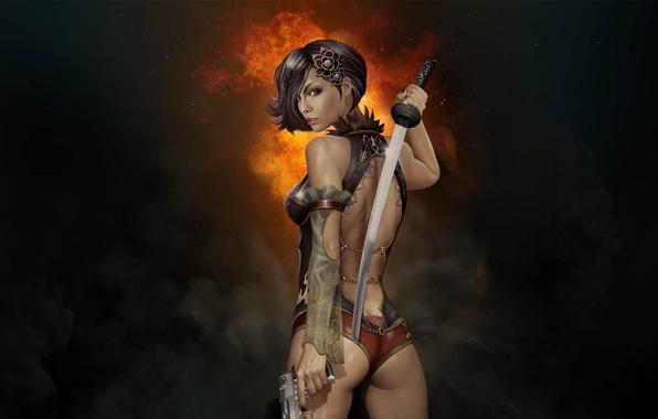 Картинка девушка, пистолет, оружие, дым, меч, катана, клинок, Gunblade Saga