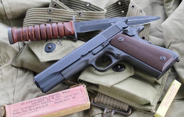 Картинка пистолет, оружие, нож, M1911, самозарядный