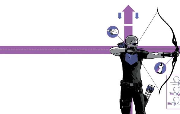 Картинка поза, техника, лук, форма, стрелы, Marvel Comics, Hawkeye