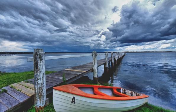 Картинка тучи, мост, озеро, берег, лодка, Небо, грозовые