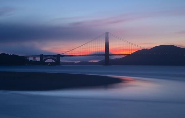 Картинка небо, облака, закат, оранжевый, мост, пролив, вечер, Калифорния, Сан-Франциско, Золотые Ворота, USA, США, Golden Gate …