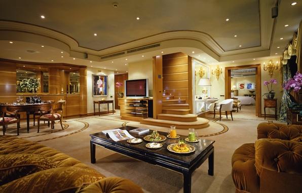 Картинка стол, комната, обои, интерьер, телевизор, лестница, люстра, wallpaper, пентхаус, квартира, диваны, дорого, penthouse, люкс