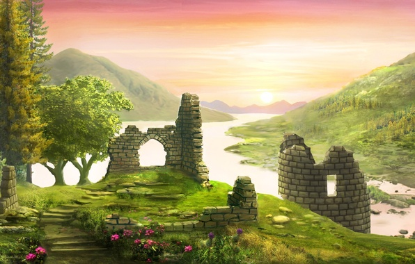 Картинка лес, цветы, река, замок, холмы, башня, арт, руины