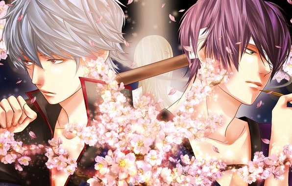 Картинка цветы, дым, арт, парни, бинты, gintama, sakata gintoki, takasugi shinsuke, momota, yoshida shouyou