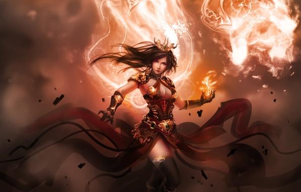 Картинка пламя, магия, Девушка, доспехи, волшебница