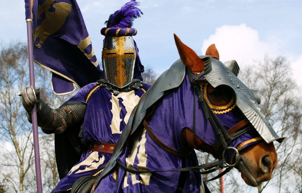Картинка доспехи, лошади, воин, рыцарь, герб, the, club, military, фиолетовая, стяг, horse, knight, historical, руке, амуниция.
